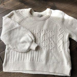 Madewell White Copenhagen Cable Sweater Medium